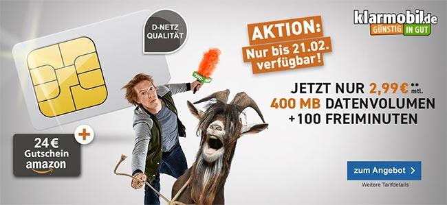 Telekom Netz ► 400MB + 100 Minuten für 2,99€ + 24€ Amazon Gutschein