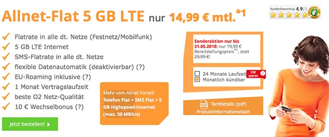 SimDiscount - 5GB LTE Allnet Flat für 12,99€