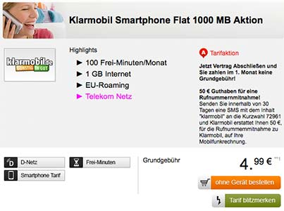 Telekom Netz ► 1GB Internet Flat mit 100 Freiminuten für 4,95€