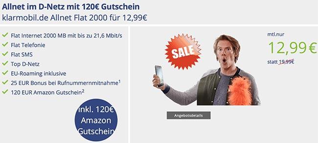 Klarmobil Allnet Flat 2000 mit 120€ Amazon Gutschein