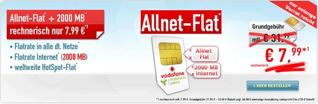 2GB Vodafone Allnet Flat mit Hotspot Flat für 7,99€
