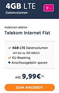 4GB Telekom LTE Internet Flat für 9,99€