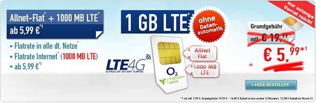 1GB LTE Allnet Flat ohne Datenautomatik ab 5,99€