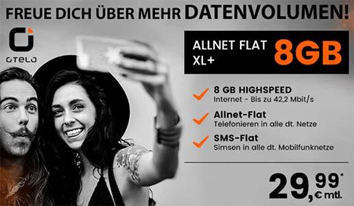 8GB OTELO Allnet Flat XL+ für 29,99€ mit Galaxy S8 für 49€