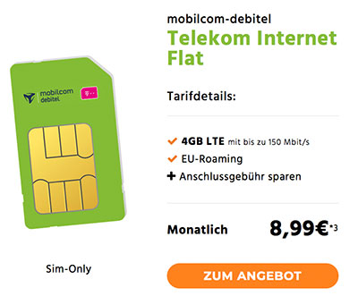 4GB Telekom LTE Internet Flat für 8,99€