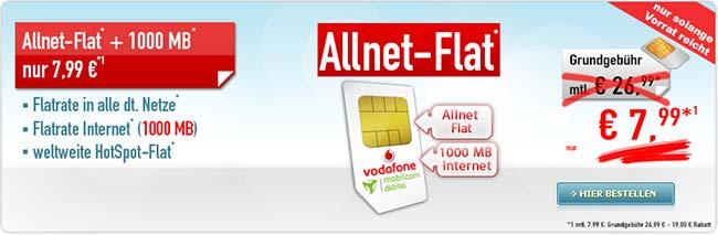 1GB Vodafone Allnet Flat mit weltweiter Hotspot Flat für 7,99€