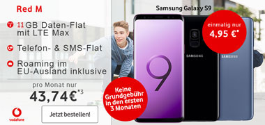 Vodafone RED M (11GB LTE) mit Huawei P20 Pro, Galaxy S9 ab 1€