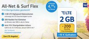 1&1 Tarife ► bis zu 4GB Internet und 400 Frei-Einheiten ab 4,99€