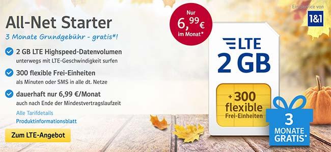 1&1 Tarife ► bis zu 4GB Internet und 500 Frei-Einheiten ab 6,99€