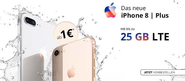 Apple iPhone 8 / 8 Plus Vorbestellen mit Vertrag ab 1€