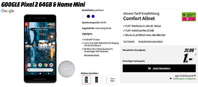 Google Pixel 2 mit Home mini für 1€ und 2GB Telekom Vertrag