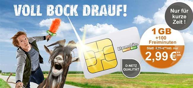 Vodafone Netz ► 1GB Handyvertrag mit 100 Freiminuten für 2,99€