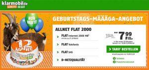 2GB Klarmobil Vodafone Allnet Flat für 7,99€
