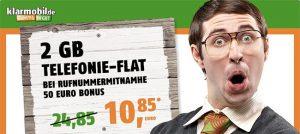 2GB Klarmobil Vodafone Allnet Flat für 10,85€