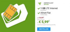 1GB LTE Allnet Flat für 5,99€