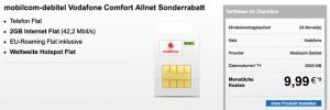 2GB Vodafone Allnet Flat mit WLAN Hotspot Flat für 9,99€
