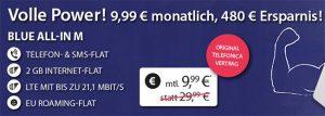o2 Blue All-in M mit 2GB LTE und EU-Roaming für 9,99€