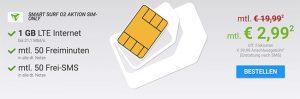 1GB LTE o2 Smart Surf für 2,99€