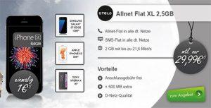 OTELO Allnet Flat XL - 2.5GB für 29,99€ mit TOP Handy für 1€