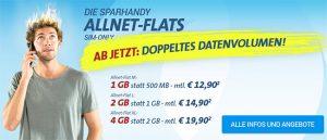 Sparhandy Telekom AllnetFlat Tarife + doppeltem Datenvolumen
