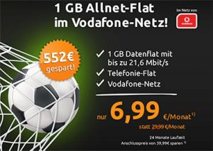 1GB Vodafone Allnet Flat für 6,99€
