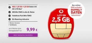 Vodafone CallYa Tarife ab 2,99€ mit bis zu 4GB LTE Internet