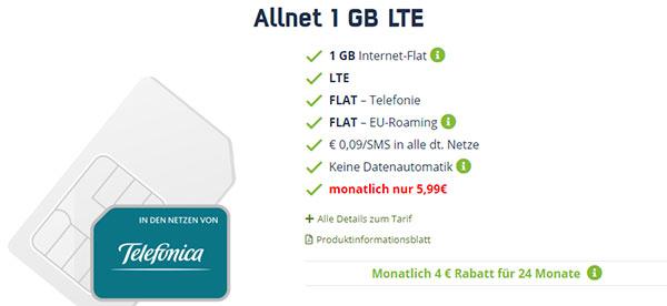 1GB LTE Allnet Flat für 5,99€ | keine Datenautomatik