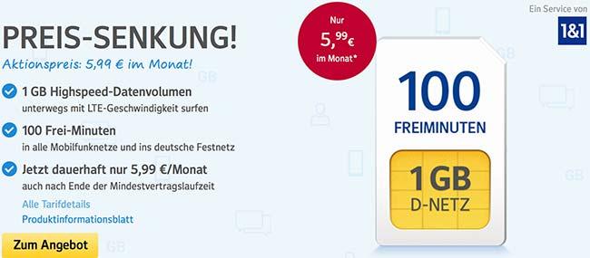1&1 Tarife ► bis zu 3GB Internet Flat ab 4,99€