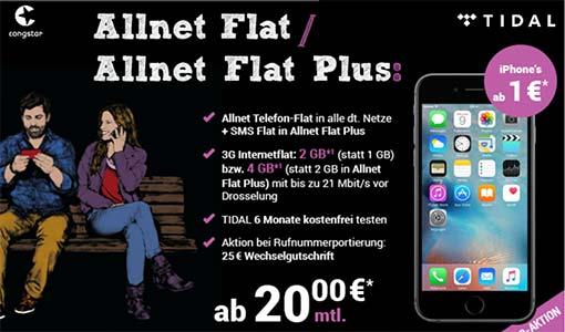 Congstar Allnet Flat mit bis zu 4GB ab 20€ mit TOP Smartphone ab 1€