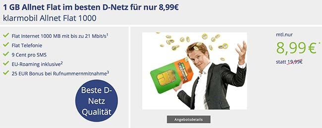 1GB Telekom Allnet Flat für 8,99€ von Klarmobil