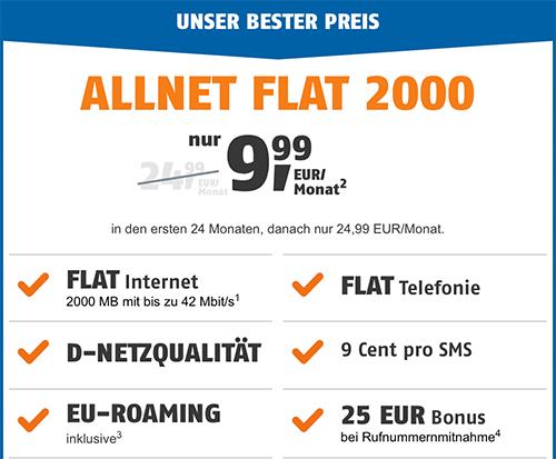 2GB Telekom Allnet Flat für 9,99€ von Klarmobil