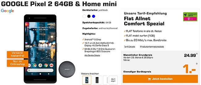 Google Pixel 2 mit Home mini für 1€ und 1GB Telekom Vertrag