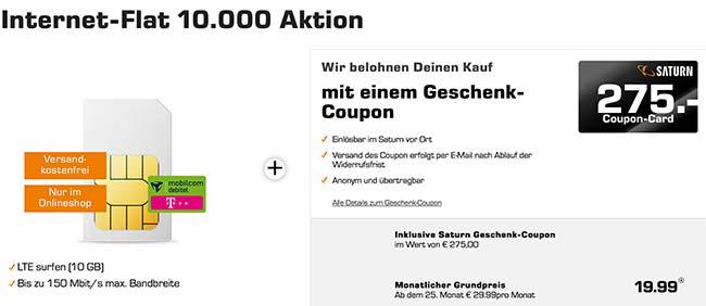 10GB Telekom LTE Internet Flat mit 275€ Satur Gutschein für 19,99€