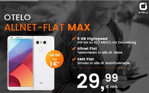 6GB otelo Allnet-Flat Max für 29,99€ mit Galaxy S8 für 44€