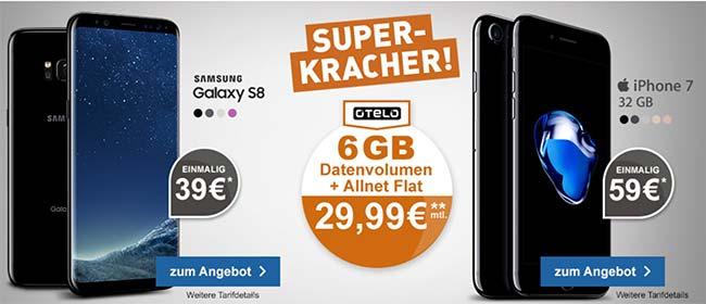 6GB otelo Allnet-Flat Max für 29,99€ mit Galaxy S8 für 39€