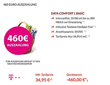 Telekom Data Comfort L Basic mit 460€ Auszahlung