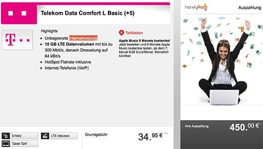 Telekom Data Comfort L Basic mit bis zu 450€ Auszahlung