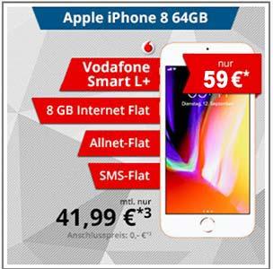 8GB LTE Vodafone Smart L Plus mit Apple iPhone 8 für 59€