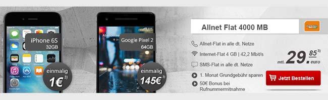 Klarmobil Allnet Flat 4GB für 29,85€ mit TOP Smartphone ab 1€