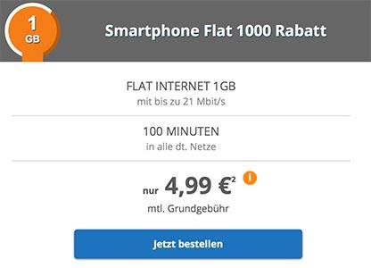 Telekom Netz ► 1GB Internet Flat mit 100 Freiminuten für 4,99€