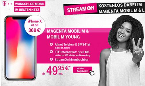 Telekom Magenta Mobil M / M Young mit TOP Smartphone für 1€