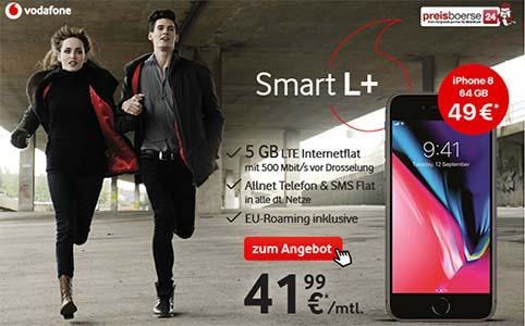 5GB LTE Vodafone Smart L Plus mit Apple iPhone 8 für 49€