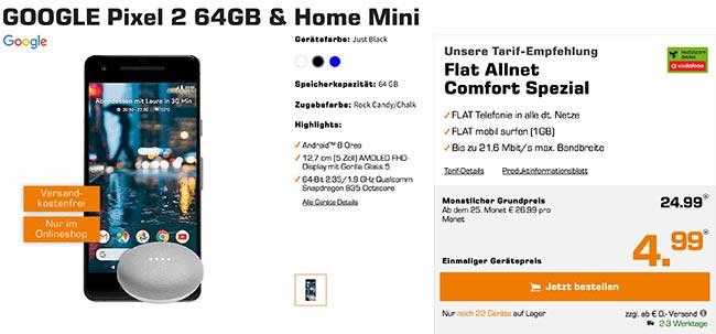 Google Pixel 2 + Home mini für 4,99€ mit 1GB Vodafone Vertrag für 24,99€