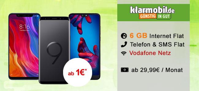 Klarmobil AllNet Flat 6GB ab 29,99€ mit TOP Smartphones ab 1€