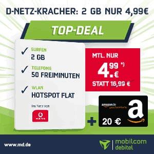 2GB Mobilcom Debitel Smart Surf für 4,99€ + 20€ Amazon Gutschein