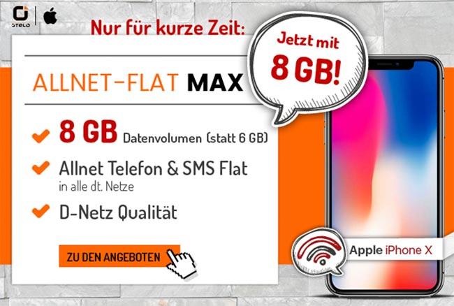 8GB otelo Allnet-Flat Max für 29,99€ mit Galaxy S8 für 4,95€
