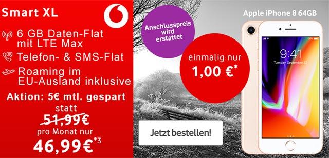 6GB LTE Vodafone Smart XL mit Apple iPhone 8 ab 1€