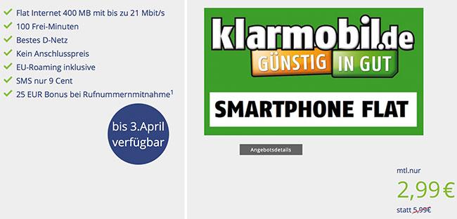 Klarmobil Smartphone Flat ► 400MB + 100 Minuten für 2,99€