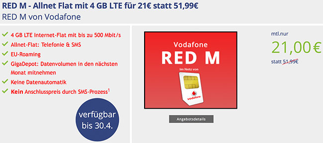 4GB LTE Vodafone RED M für 21,00€ * SIM-Only *
