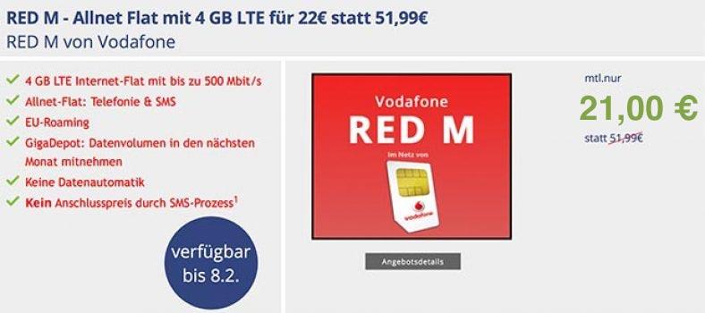 4GB LTE Vodafone RED M für 21,00€ * SIM-Only *